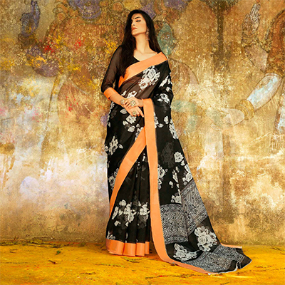 Lovely Black Designer Printed Manipuri Silk Saree