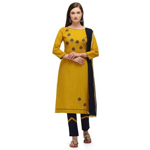 Glowing Yellow Coloured Embroidered Casual Wear Cotton Slub Dress Material