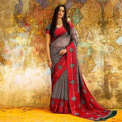 Stylish Black - Red Designer Printed Manipuri Silk Saree