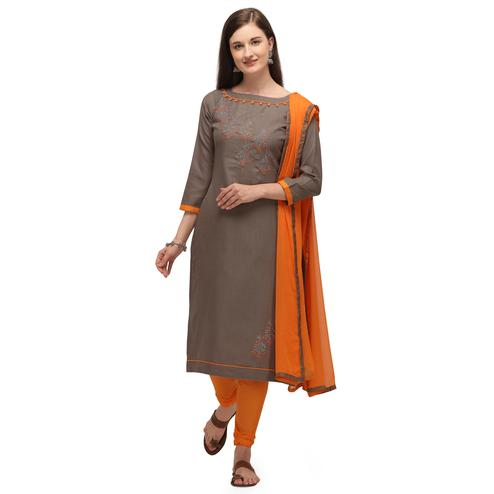 Capricious Brown Coloured Embroidered Casual Wear Cotton Slub Dress Material