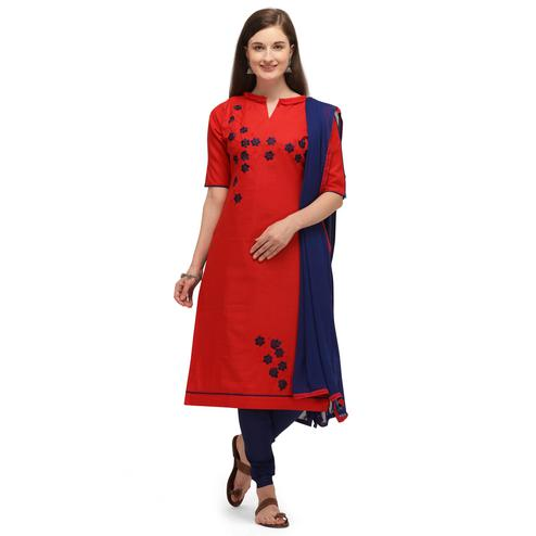 Desirable Red Coloured Embroidered Casual Wear Cotton Slub Dress Material