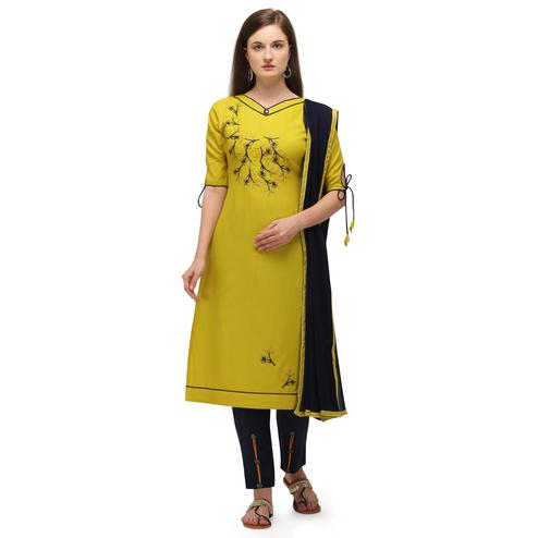 Attractive Yellow Coloured Embroidered Casual Wear Cotton Slub Dress Material