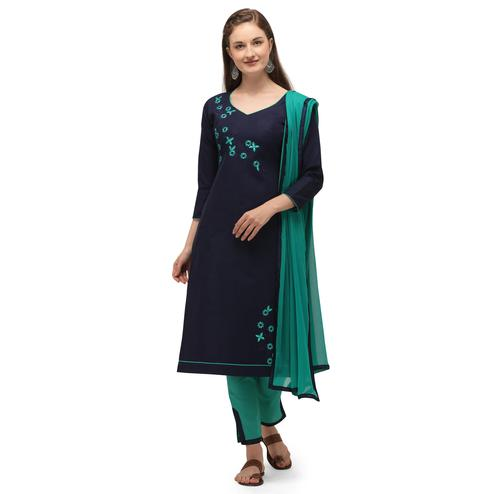 Graceful Blue Coloured Embroidered Casual Wear Cotton Slub Dress Material