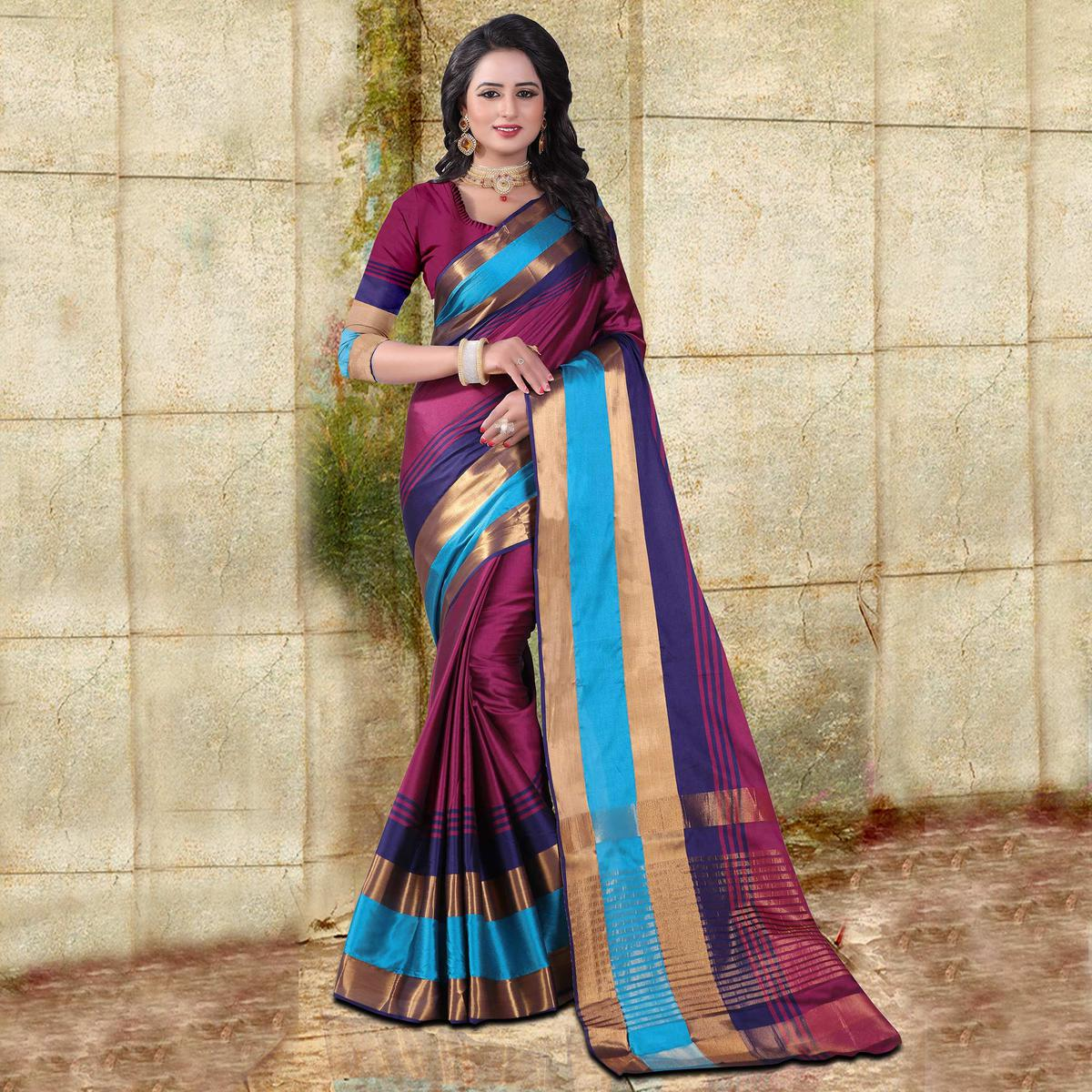 Deep Magenta Colored Festive Wear Cotton Silk Saree