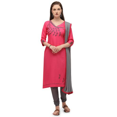 Radiant Pink Coloured Embroidered Casual Wear Cotton Slub Dress Material
