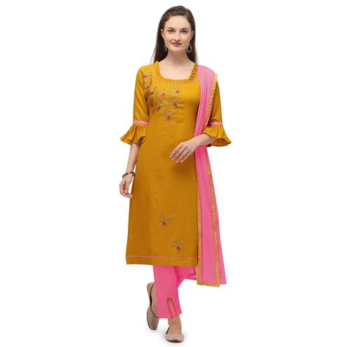 Jazzy Yellow Coloured Embroidered Casual Wear Cotton Slub Dress Material