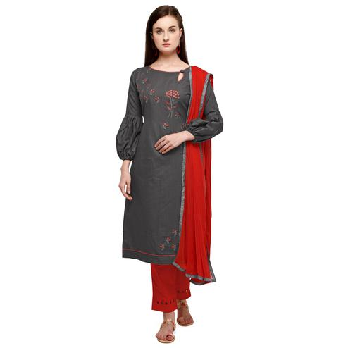 Blissful Grey Coloured Embroidered Casual Wear Cotton Slub Dress Material