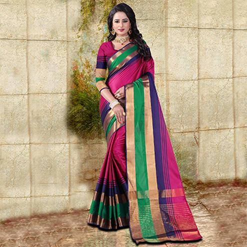 Pink Colored Festive Wear Cotton Silk Saree