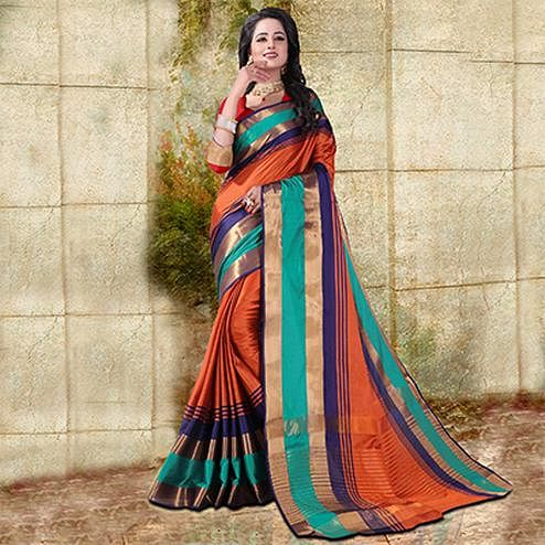 Orange Colored Festive Wear Cotton Silk Saree