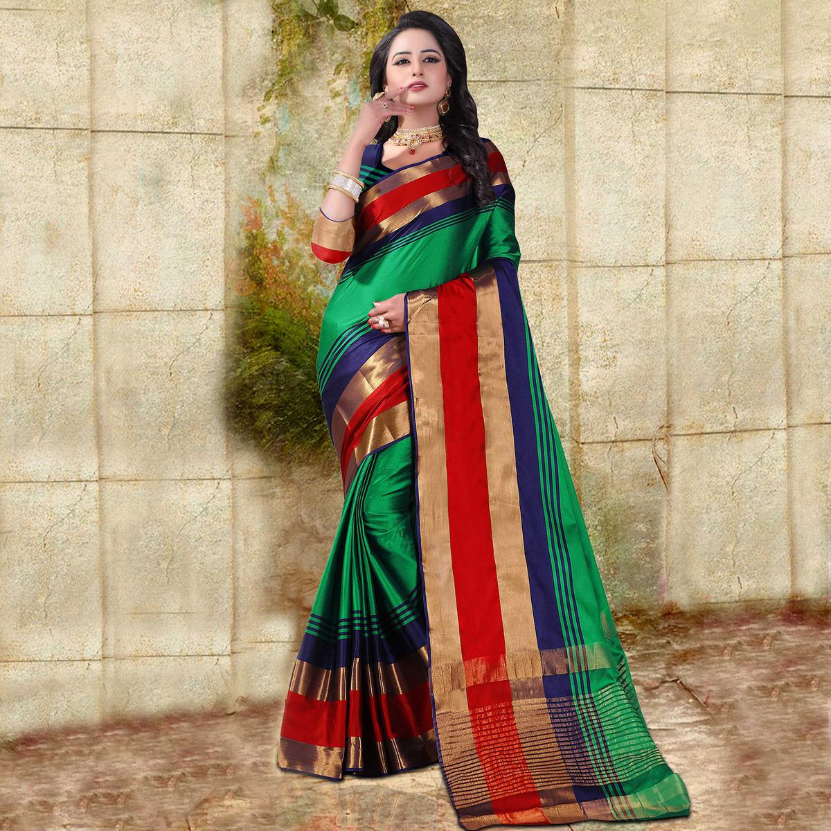 Green Colored Festive Wear Cotton Silk Saree