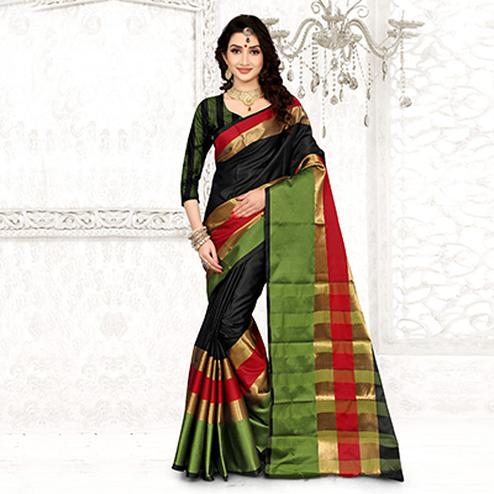 Arresting Black Colored Festive Wear Cotton Silk Saree