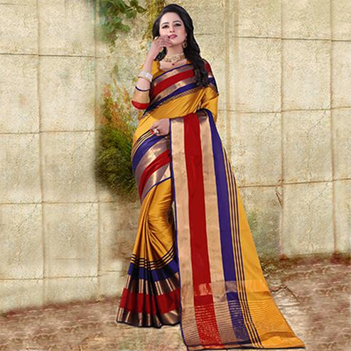 Yellow Colored Festive Wear Cotton Silk Saree
