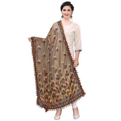 Adorable Beige Colored Floral Jacqaurd Pattern With Lace Soft Lycra Women Dupatta
