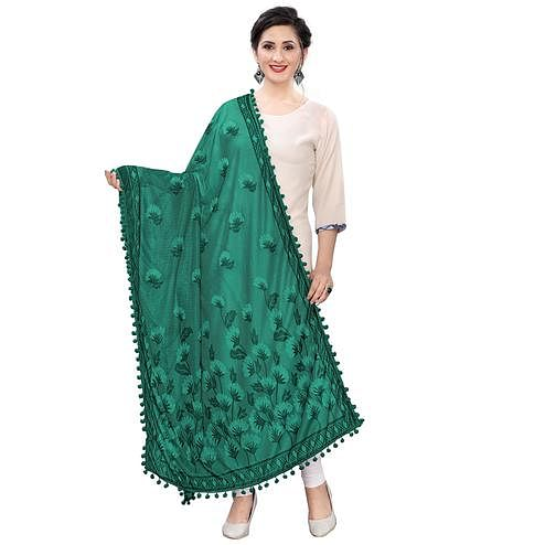 Glorious Green Colored Floral Jacqaurd Pattern With Lace Soft Lycra Women Dupatta