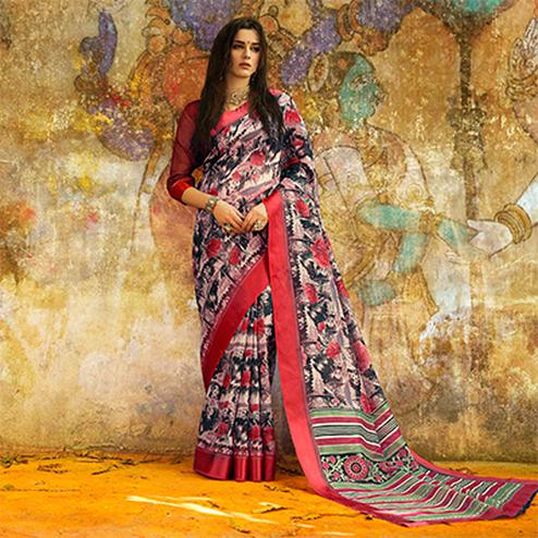 Sizzling Black - Red Designer Printed Manipuri Silk Saree