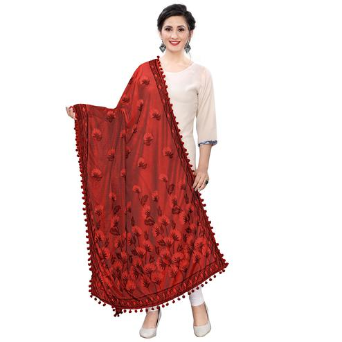 Graceful Red Colored Floral Jacqaurd Pattern With Lace Soft Lycra Women Dupatta