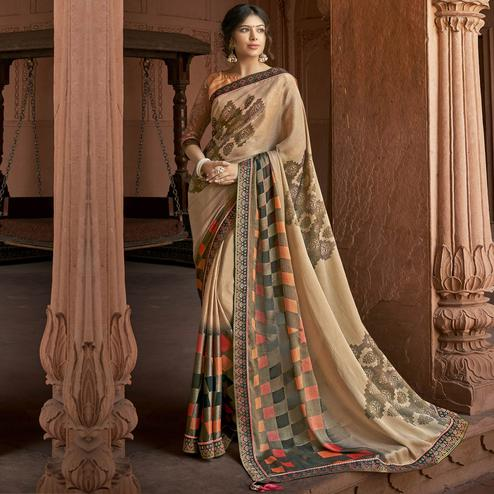 Triveni - Beige Color Brasso Silk Casual Wear Saree With Blouse Piece