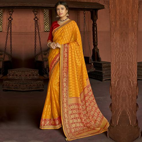 Triveni - Mustard Color Brasso Silk Casual Wear Saree With Blouse Piece