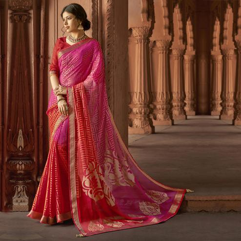 Triveni - Pink & Red Color Brasso Silk Casual Wear Saree With Blouse Piece