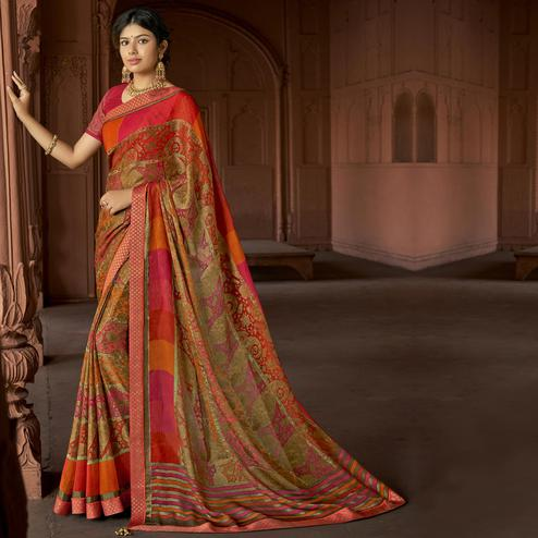 Triveni - Beige & Red Color Brasso Silk Casual Wear Saree With Blouse Piece