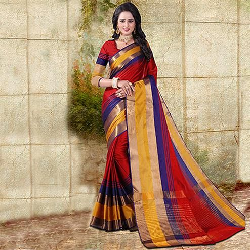 Red Colored Festive Wear Cotton Silk Saree