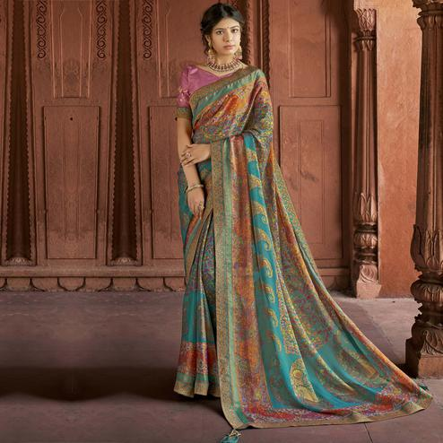 Triveni - Turquoise & Beige Color Brasso Silk Casual Wear Saree With Blouse Piece