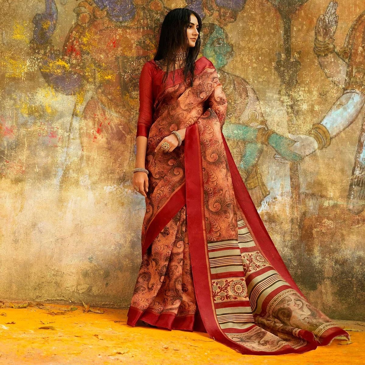 Charming Peach - Brown Designer Printed Manipuri Silk Saree
