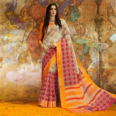 Appealing Off-white Designer Printed Manipuri Silk Saree