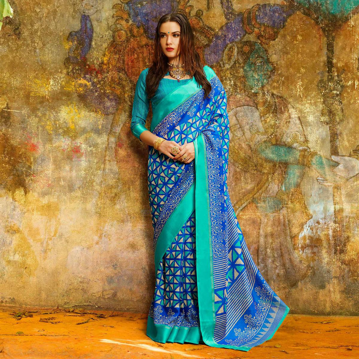 Ravishing Blue Designer Printed Manipuri Silk Saree