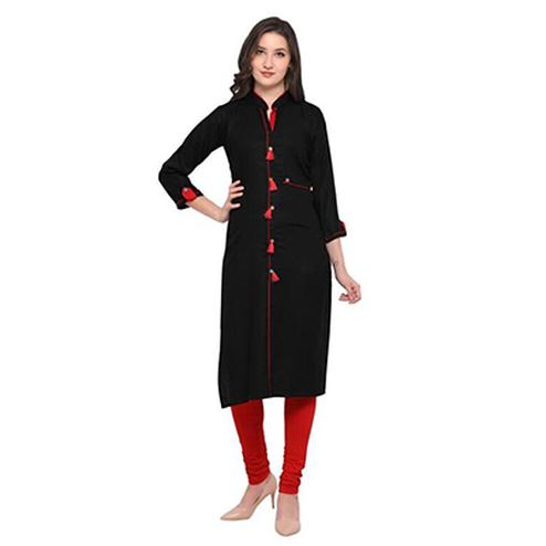 Black Colored Casual Wear Pure Rayon Kurti
