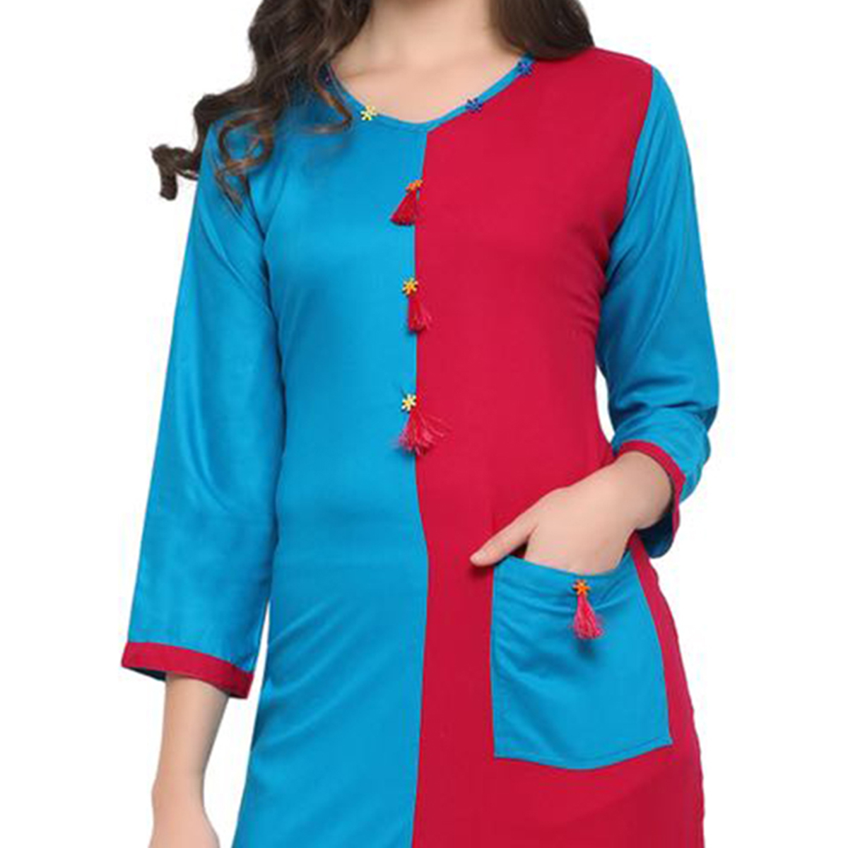 Blue-Pink Colored Casual Wear Pure Rayon Kurti