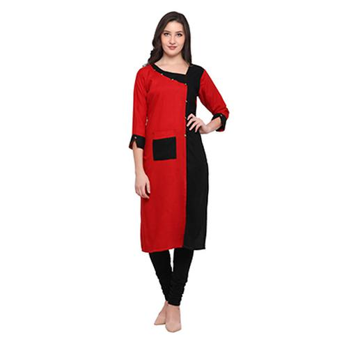 Red-Black Colored Casual Wear Pure Rayon Kurti