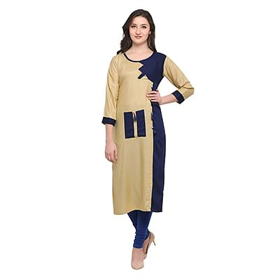 Beige-Blue Colored Casual Wear Pure Rayon Kurti