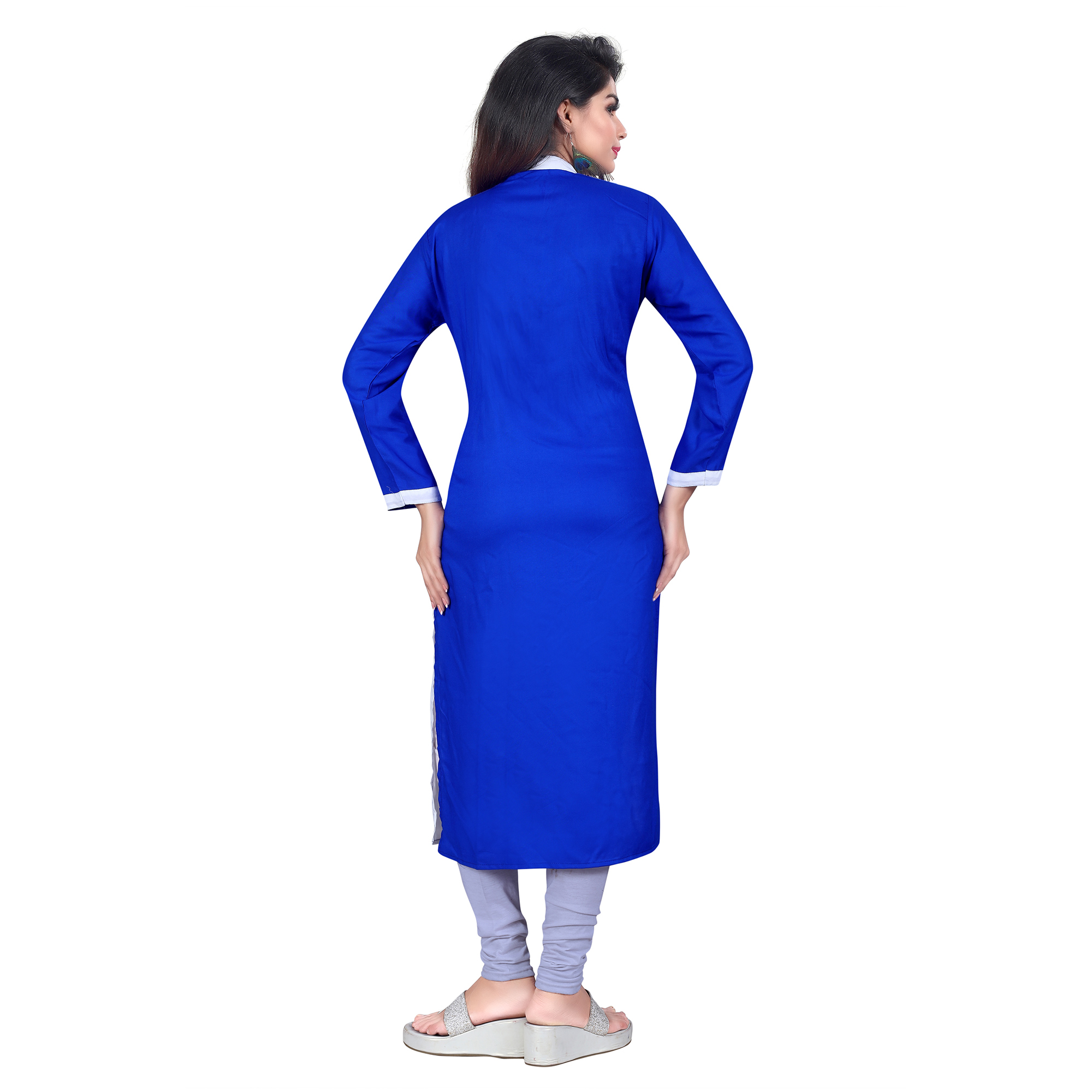 Blue Colored Casual Wear Pure Rayon Kurti