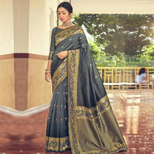 Triveni - Grey Color Art Silk Party Wear Saree With Blouse Piece