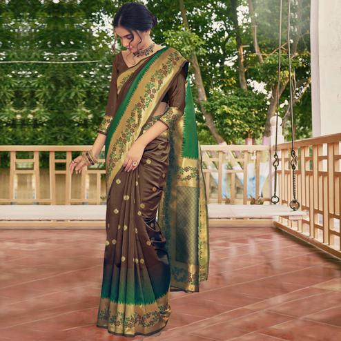 Triveni - Brown Color Art Silk Party Wear Saree With Blouse Piece