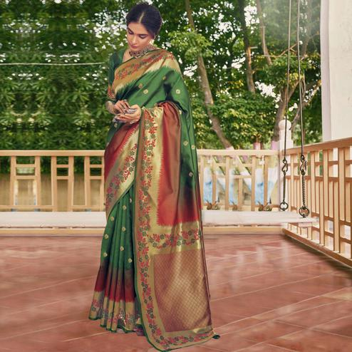 Triveni - Green & Red Color Art Silk Party Wear Saree With Blouse Piece
