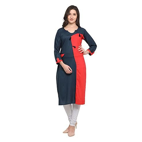 Navy Blue-Red Colored Casual Wear Pure Rayon Kurti