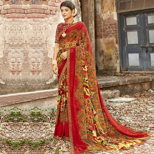 Triveni - Red Orange Color Georgette Casual Wear Saree With Blouse Piece