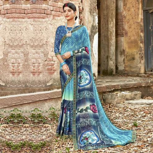 Triveni - Sky Blue Color Georgette Casual Wear Saree With Blouse Piece