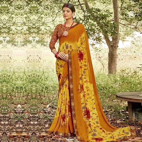 Triveni - Mustard Color Georgette Casual Wear Saree With Blouse Piece