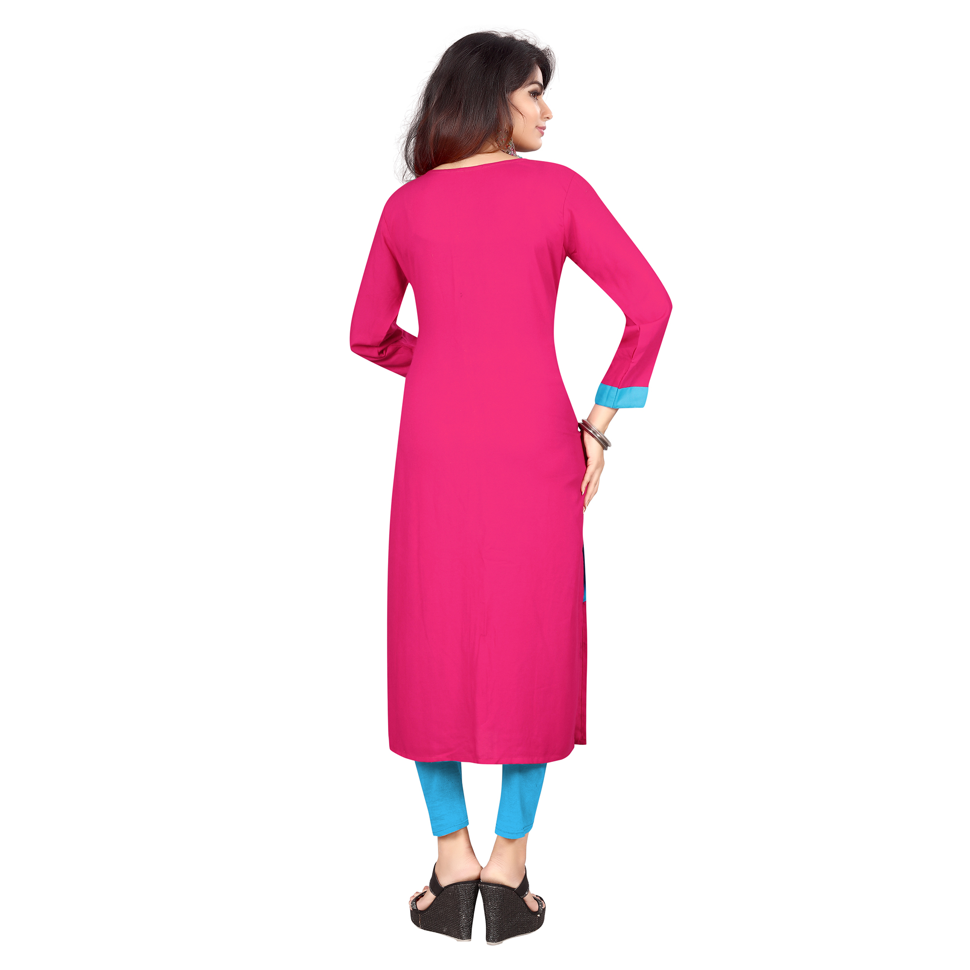 Pink-Blue Colored Casual Wear Pure Rayon Kurti