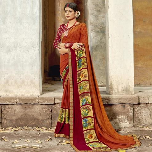 Triveni - Orange Color Georgette Casual Wear Saree With Blouse Piece