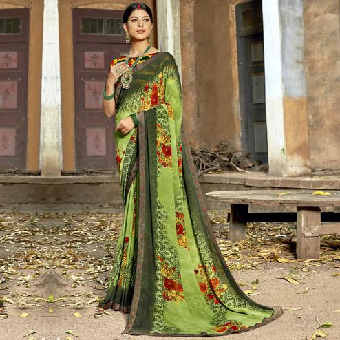 Triveni - Green Color Georgette Casual Wear Saree With Blouse Piece