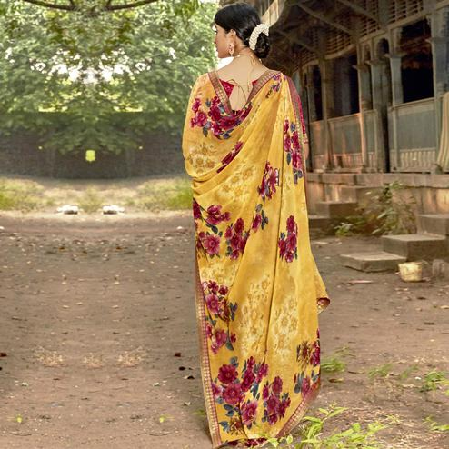 Triveni - Yellow Color Georgette Casual Wear Saree With Blouse Piece