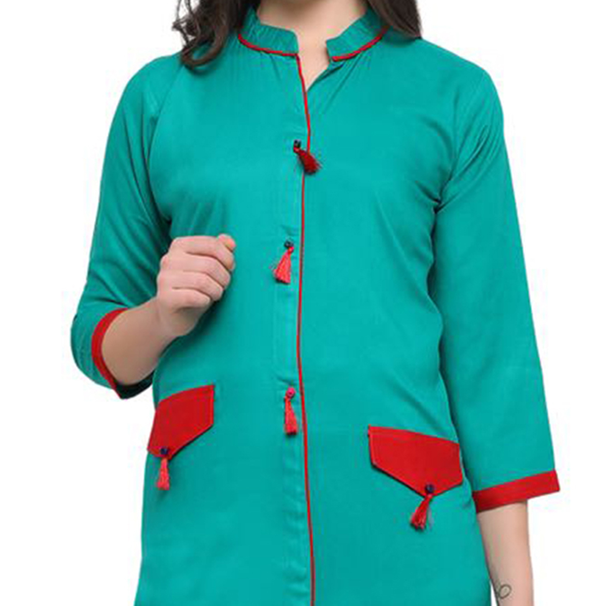 Green Colored Casual Wear Pure Rayon Kurti