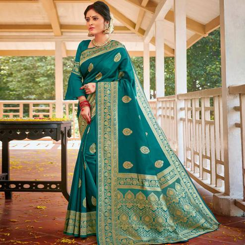 Triveni - Dark Green Color Art Silk Party Wear Saree With Blouse Piece