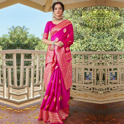 Triveni - Magenta Color Art Silk Party Wear Saree With Blouse Piece