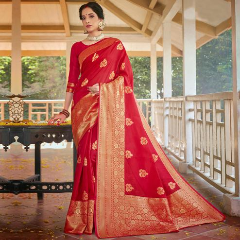 Triveni - Red Color Art Silk Party Wear Saree With Blouse Piece