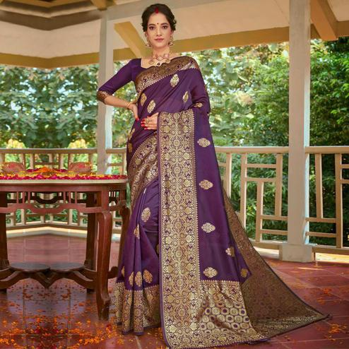 Triveni - Purple Color Art Silk Party Wear Saree With Blouse Piece